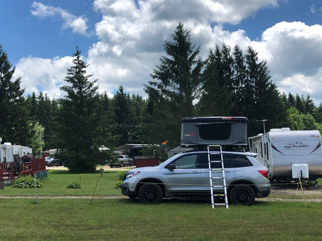 2019 Honda Passport with RoofNest tent for camping