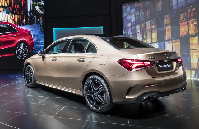 Mercedes benz a class sedan revealed here in q2 2019 for Mercedes benz global