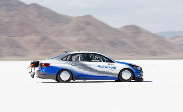 2019 Volkswagen Jetta Bonneville Salt Flats racer during Sept. 2018 speed record attempt