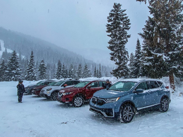 2020 AWD vehicles prepare for the Winter Driving Encounter in Winter Park, CO.