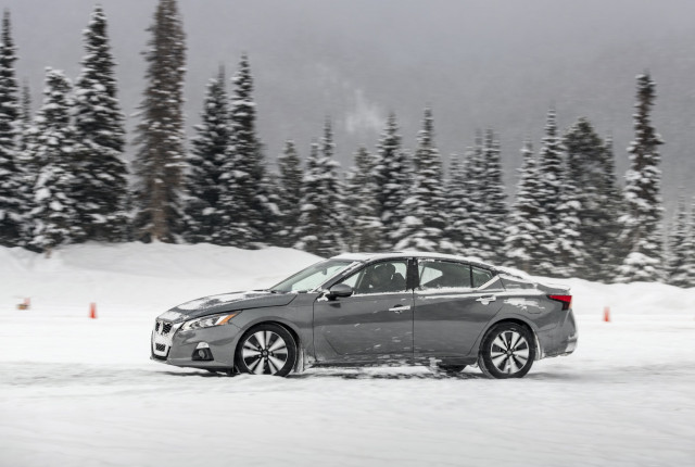 2020 Nissan Altima AWD kicks up snow at the Winter Driving Encounter in Winter Park, CO.