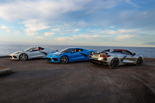 2021 Chevrolet Corvette coupe and convertible (Silver Flare Metallic paint, right)