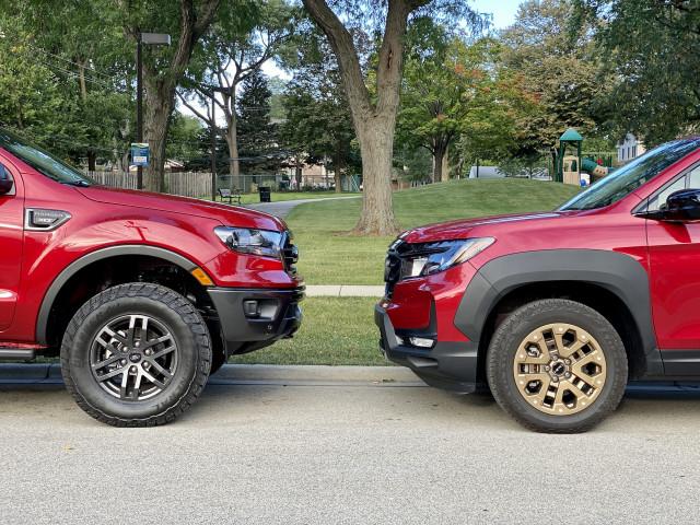2021 Ford Ranger Tremor, left, and 2021 Honda Ridgeline HPD, right