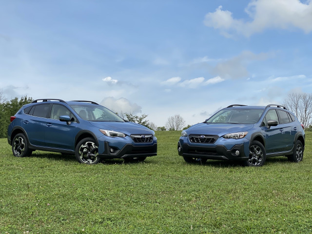 2021 Subaru Crosstrek Limited, left, and Sport, right