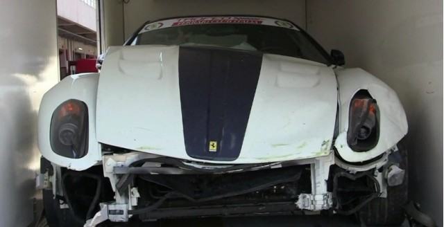 599 GTO wrecked on track