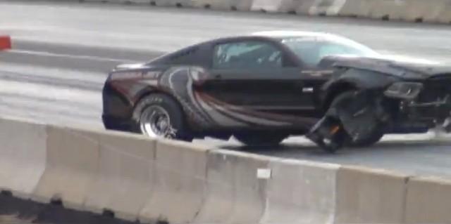A crashed 2013 Ford Mustang Cobra Jet
