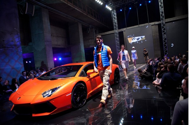 A fashion show marks the opening of Russia's first Lamborghini dealership