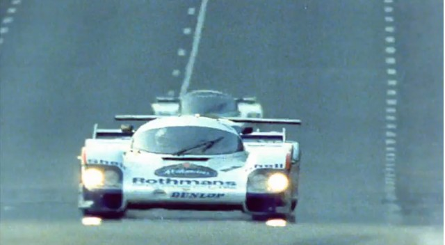 A Rothman's Porsche 956 at Le Mans, likely in 1982.