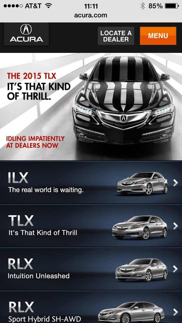 Acura mobile site on iPhone - as viewed 10/9/2014