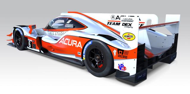 Acura ARX-05 prototype race car with heritage livery, IMSA 2019 season