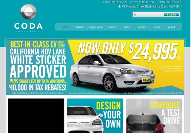 Ad for 2012 Coda Sedan priced at $25,000, from Coda Silicon Valley dealer, January 2013