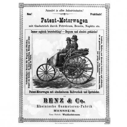 Ad for Carl and Bertha's Motorwagen | Photo from Mercedes-Benz