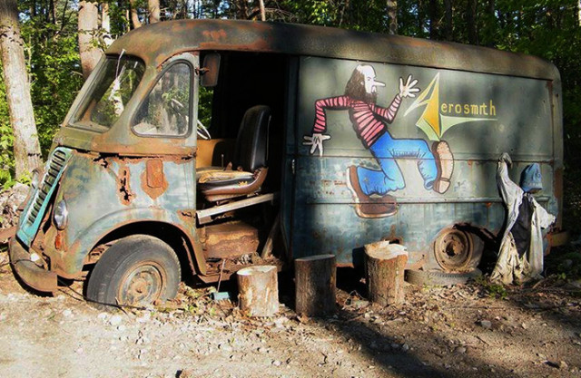 Aerosmith's original touring van, a 1964 International Harvester Metro, via @KConz20