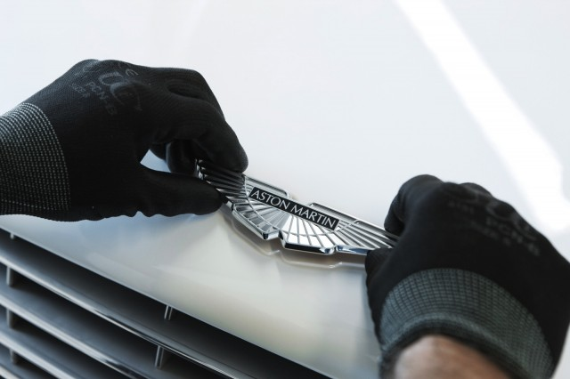 Affixing the Aston Martin badge