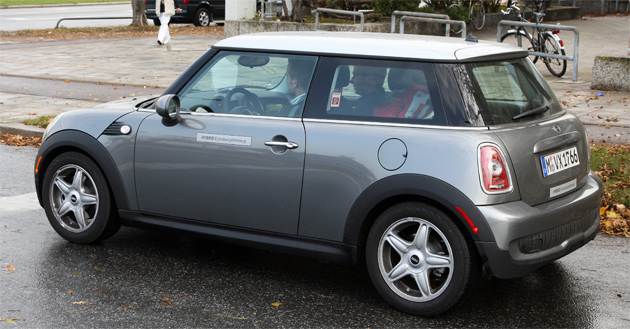 Electric Mini is easily distinguished by its missing tail-pipes