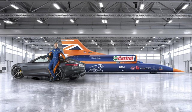 Andy Green with the all-wheel-drive Jaguar F-Type R Coupe and the Bloodhound SSC