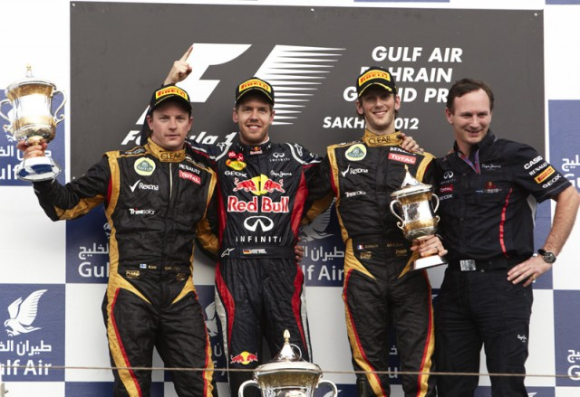 An all Renault Bahrain podium - photo courtesy Lotus F1 Team
