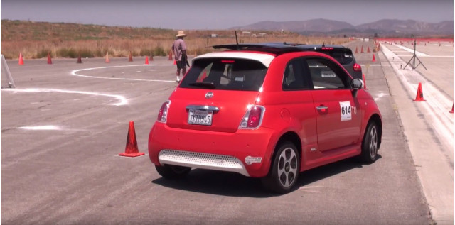 Andrea Kerr driving Fiat 500e electric car in autocross, Great Park, Irvine, Califronia, July 2017