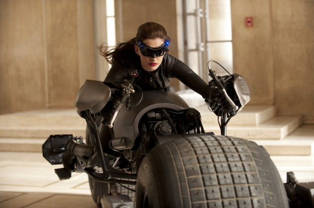 Catwoman astride the Batpod in the 'The Dark Knight Rises'