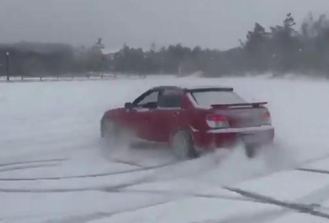 Ansel Elgort, aka Baby Driver, drifts his Subaru WRX in the snow