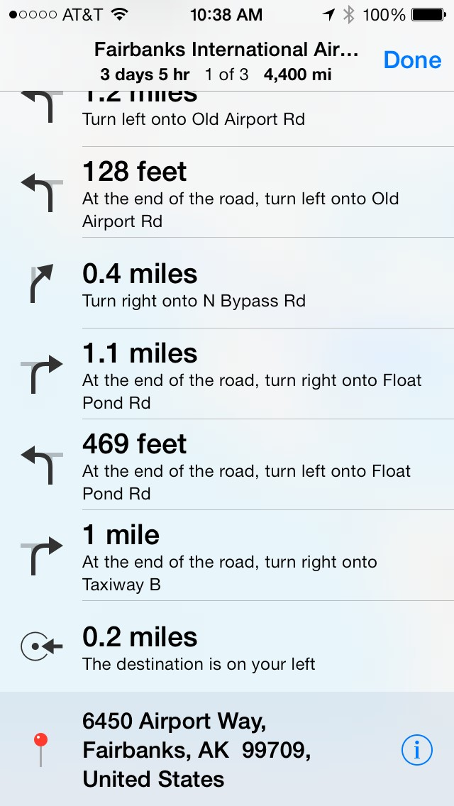 Apple Maps' directions to Fairbanks International Airport, guiding drivers onto Taxiway B