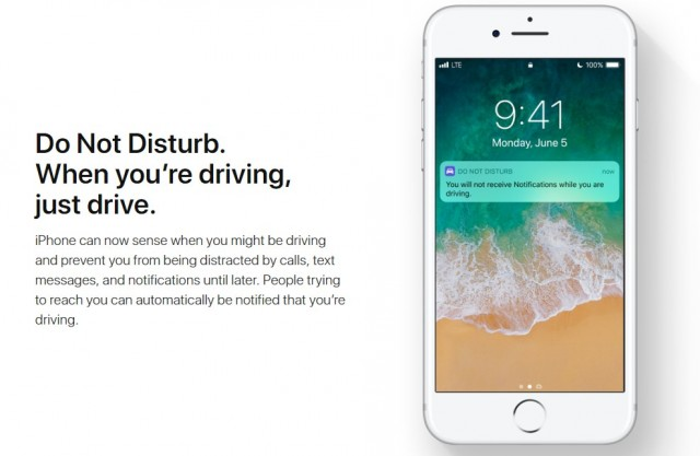 Apple's 'Do Not Disturb' feature for drivers