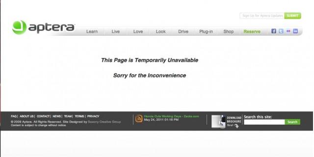 Aptera Reservation Webpage Taken off line.