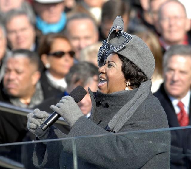Aretha Franklin, at Barack Obama's inaguration.
