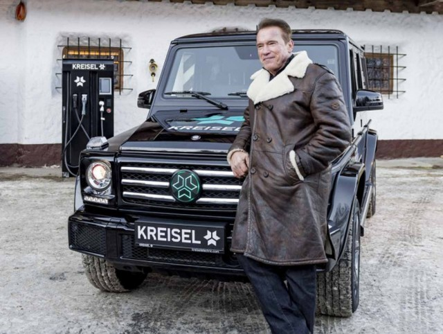 Arnold Schwarzenegger with Kreisel Mercedes-Benz G-Class electric conversion