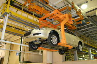 Assembly line for Volga Siber sedan, produced by Russian automaker Gaz