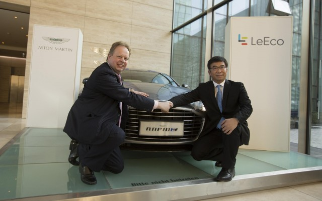 Aston Martin CEO Andy Palmer (left) and LeEco's Ding Lei