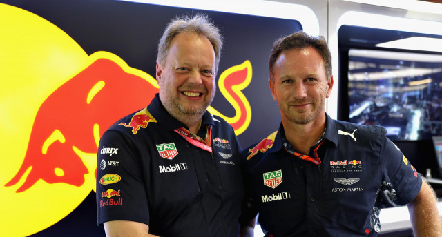 Aston Martin CEO Andy Palmer (left) and Red Bull Racing Team Principal Christian Horner