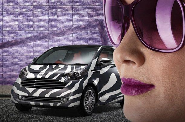 Aston Martin Cygnet in zebra stripe pattern