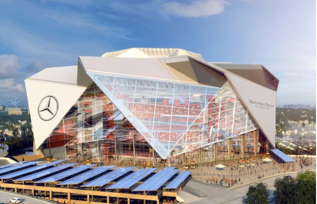 Atlanta Falcons stadium with Mercedes-Benz logo