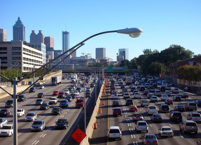 Traffic in Atlanta, Georgia during rush hour (via Wikimedia)