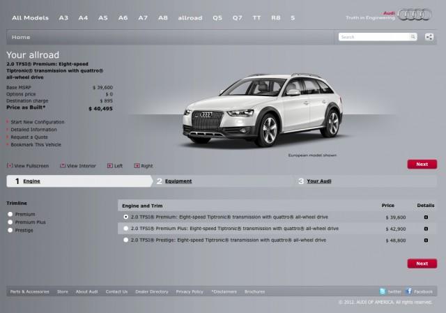 Audi of America's allroad configurator microsite