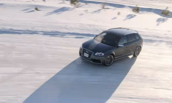 Audi RS3 tearing up the snow