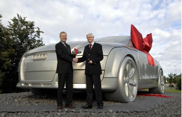 Audi TT sculpture, marking the company's 100th anniversary