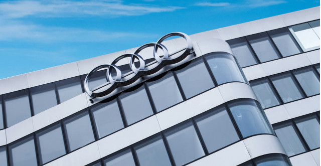 Audi brand logo on München office