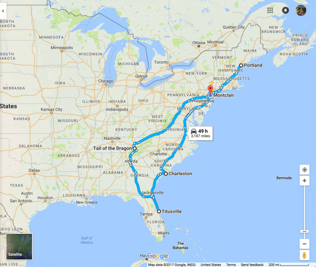 Ben Rich's 2017 electric motorcycle trip route