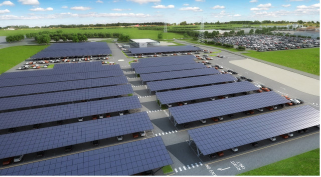 Bentley solar-powered parking lot at Crewe, UK headquarters