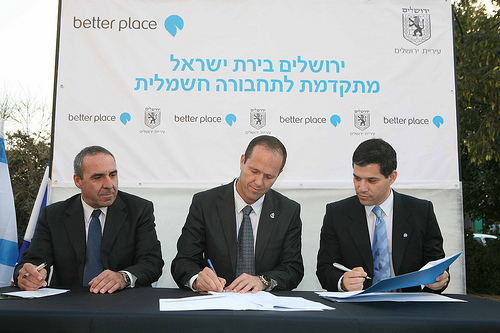 Better Place Israel signs infrastructure agreement with City of Jerusalem