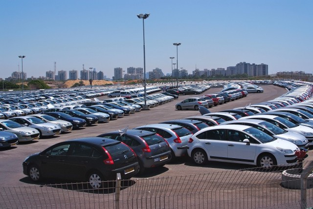 View of unsold off-lease cars from Better Place visitor center [photo: Brian of London]