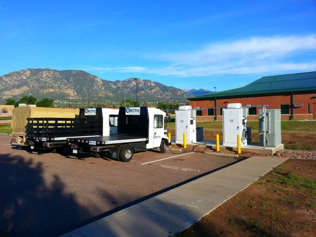 Bi-directional fast chargers used at Fort Carson, Colorado (Burns & McDonnell)