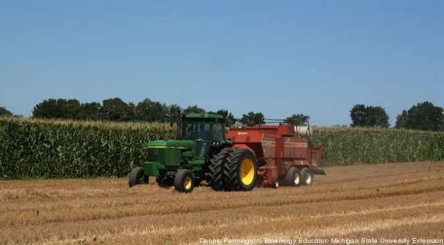 Big square baler harvesting wheat straw for production of cellulosic ethanol