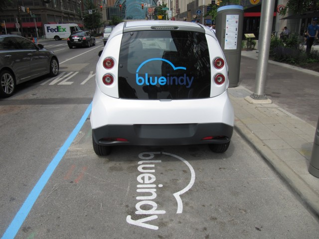 Blueindy Electric Car Sharing Station And European Bollore Bluecar Indianapolis Indiana May