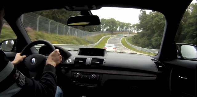 BMW 1-Series M Coupe chases an M3 CSL around the 'Ring.