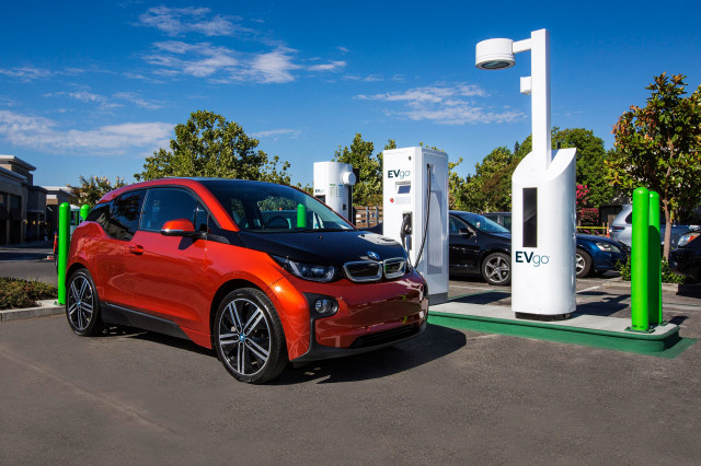 BMW i3 electric car at EVgo DC fast-charging station