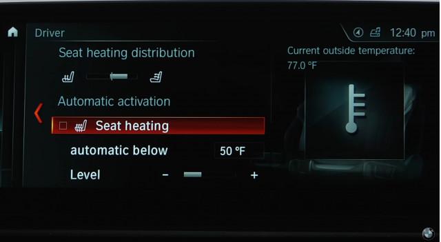 BMW seat heating distribution