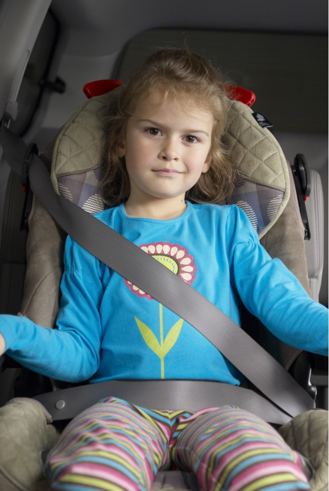 booster seat with poor fit - IIHS
